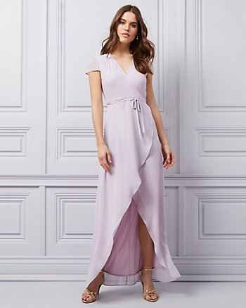 Chiffon Wrap-Like High-Low Gown