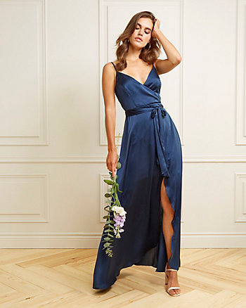 Matte Satin V-Neck Gown