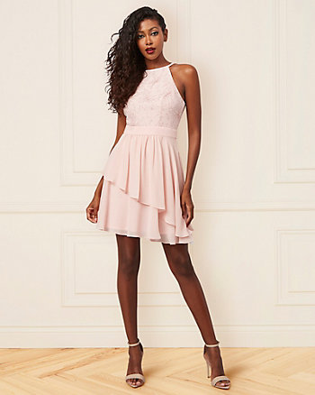 Foil Knit & Chiffon Halter Neck Party Dress