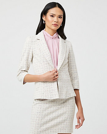 Double Knit Notch Collar Peplum Blazer