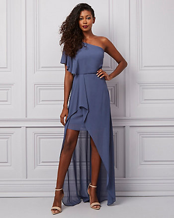 Crêpe Chiffon One Shoulder Ruffle Gown