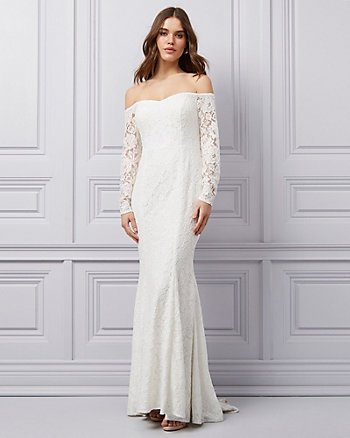 Lace Off-the-Shoulder Mermaid Gown
