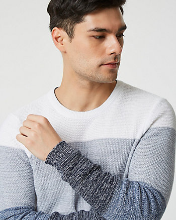 Colour Block Cotton Crew Neck Sweater