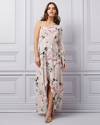 Floral Print Chiffon One Shoulder Gown