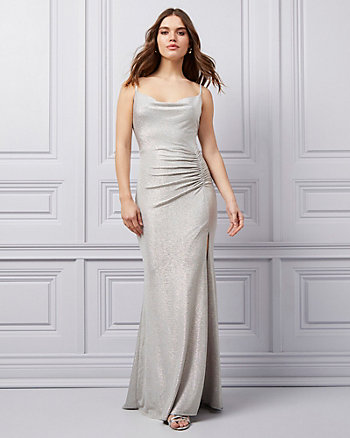 Ruched Foil Knit Cowl Neck Gown