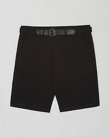 Cotton Twill Belted Shorts