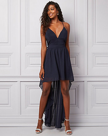 Chiffon & Lace High-Low Gown