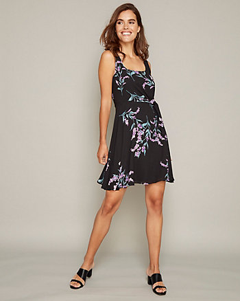 Floral Print Crêpe de Chine Scoop Neck Dress