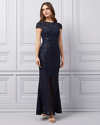 Sequin & Sparkle Lace Illusion Gown