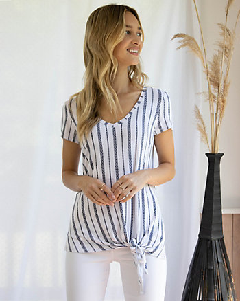 Knotted Stripe Viscose Blend V-Neck T-Shirt