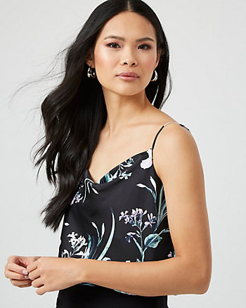 Floral Print Satin Cowl Neck Camisole