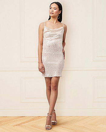 Sequin & Mesh Cowl Neck Cocktail Dress