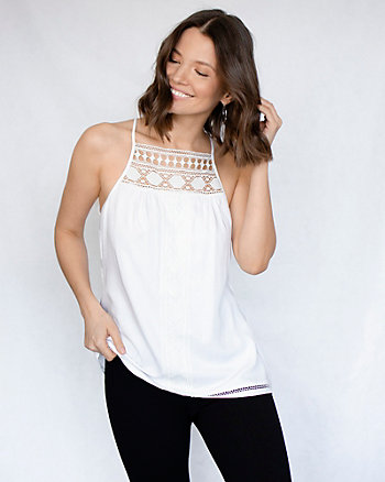 Crochet Viscose Halter Neck Blouse