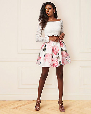 Floral Print Lace & Satin Two-Piece Dress