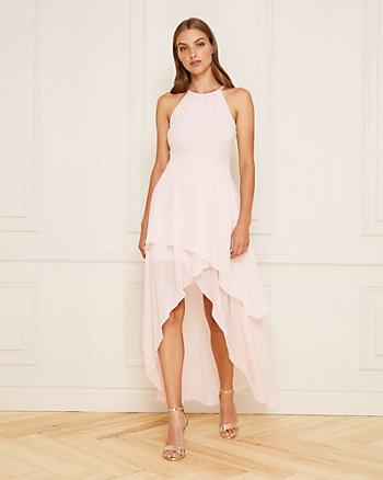 Chiffon Halter Neck High-Low Gown