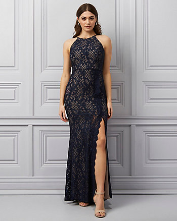 Sparkle Lace Halter Neck Gown