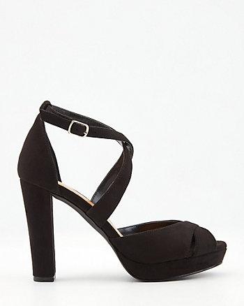 Sandale à talon bloc en suédine
