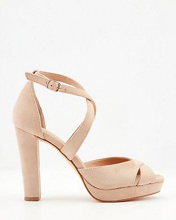 Faux Suede Criss-Cross Block Heel Sandal