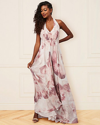 Abstract Print Chiffon V-Neck Gown