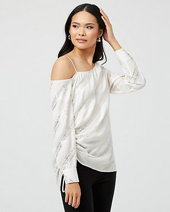 Foil Stripe One Shoulder Blouse