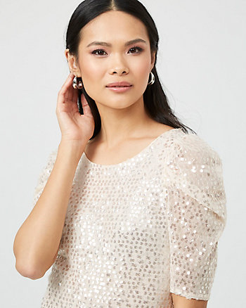 Sequin & Mesh Boat Neck Top