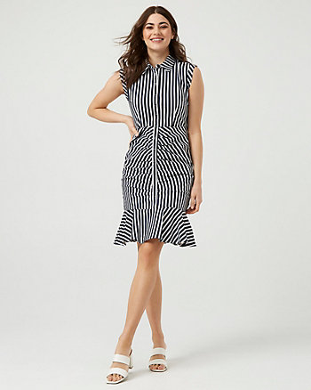 Stripe Cotton Sateen V-Neck Dress