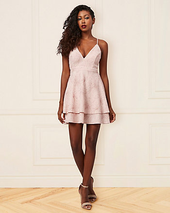 Foil Knit V-Neck Racer Back Party Dress