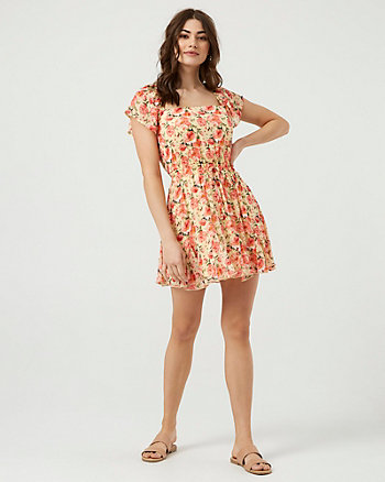 Floral Print Chiffon Square Neck Dress