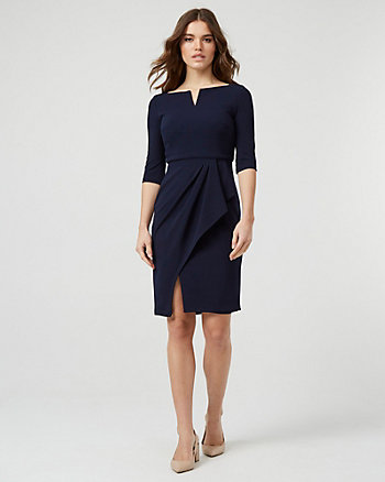 Knit Crêpe Square Neck Dress
