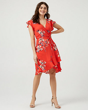 Floral Print Crêpe de Chine V-Neck Dress