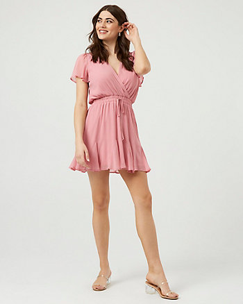 Chiffon V-Neck Fit & Flare Dress