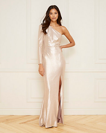 Foil Knit One Shoulder Gown