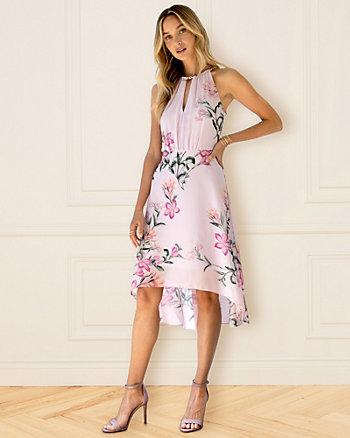 Floral Print Chiffon Keyhole Dress