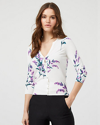 Floral Print Knit Button-Front Cardigan