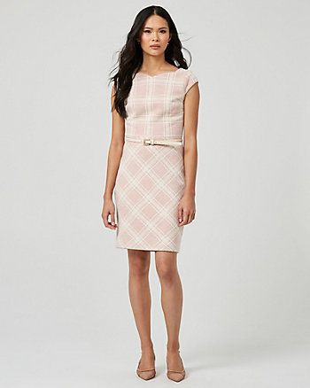 Belted Check Print Double Knit Bouclé Dress