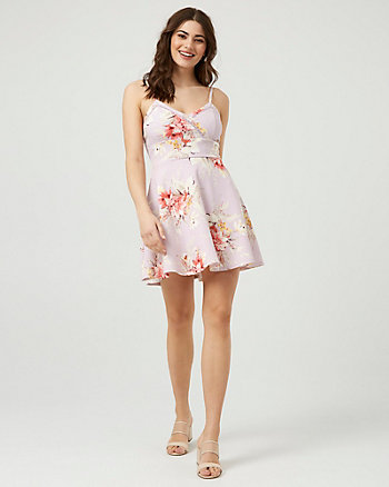 Floral Print Knit Crêpe V-Neck Cami Dress