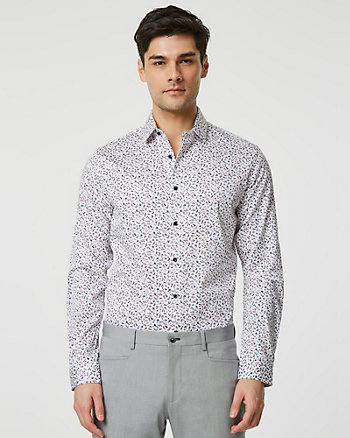 Floral Print Stretch Cotton Sateen Shirt