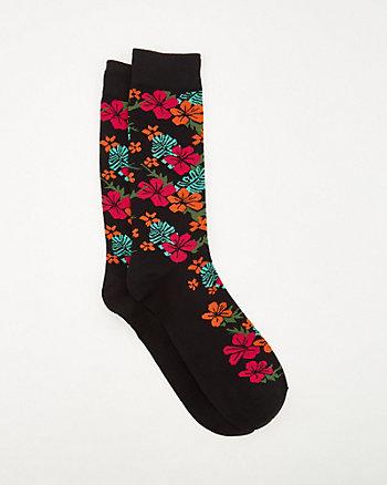 Floral Print Knit Socks