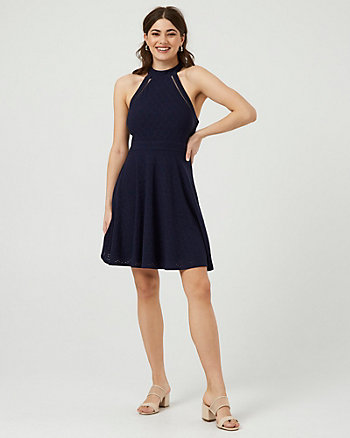 Eyelet Knit Illusion Halter Neck Dress