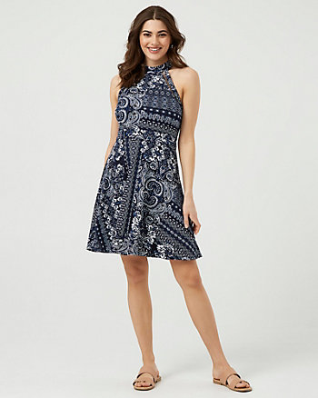 Ornamental Print Stretch Knit Dress