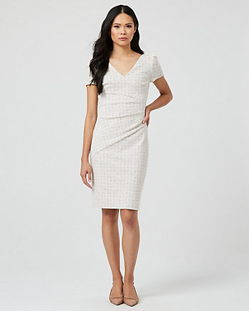 Double Knit Puff Sleeve V-Neck Dress