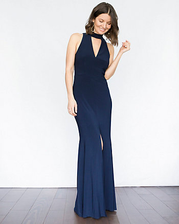 Knit Crew Neck Open Back Gown