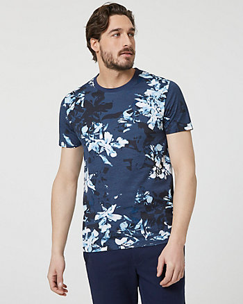 Floral Print Cotton Crew Neck T-Shirt