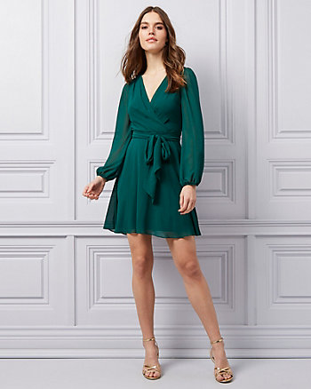 Crêpe Chiffon V-Neck Fit & Flare Dress