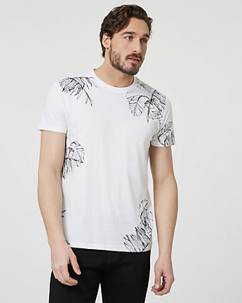Leaf Print Cotton Crew Neck T-Shirt