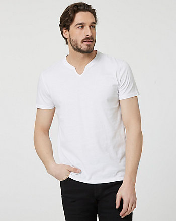 Cotton Slit V-Neck T-Shirt