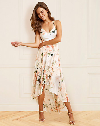 Floral Print V-Neck Chiffon Dress