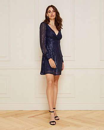 Sequin V-Neck Fit & Flare Dress