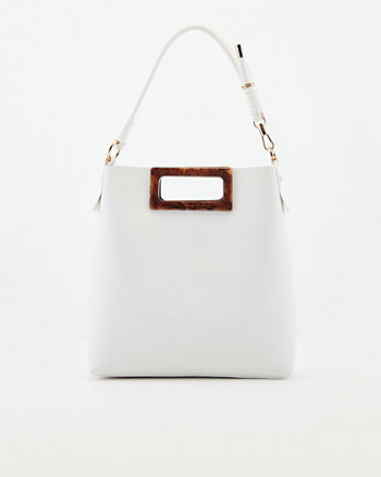 Faux Leather Top Handle Tote Bag