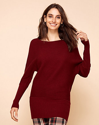 Eco-Conscious Rib Knit Tunic Sweater